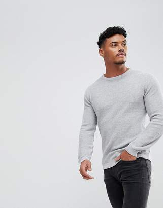Asos Muscle Fit Lightweight Textured Sweater In Light Gray