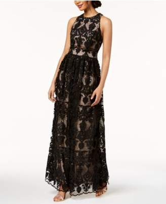 Betsy & Adam Embroidered Lace Illusion Gown