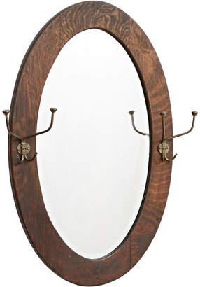 Rejuvenation Oval Oak Framed Beveled Hall Mirror w/ Two Double Hooks