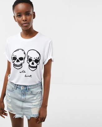 Express Wild Heart Embroidered Skulls Boyfriend Tee
