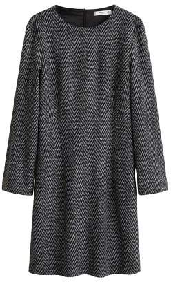 MANGO Herringbone wool-blend dress