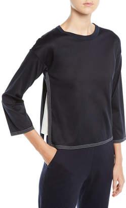 Loro Piana 3/4-Sleeve Cotton Cube Shirt