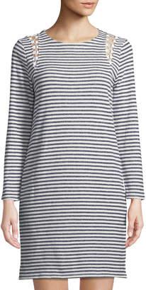 Neiman Marcus Lace-Up-Shoulder Striped Dress