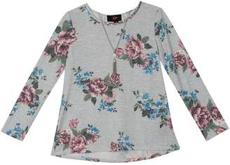 Amy Byer Iz Girls 7-16 IZ Floral Lace-Up Back Top with Necklace