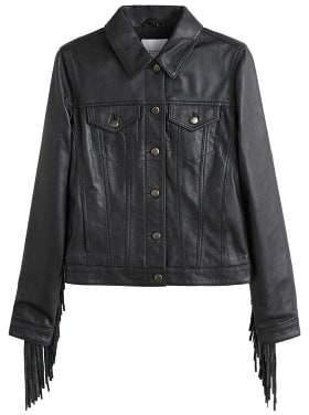 MANGO 100% leather fringes jacket