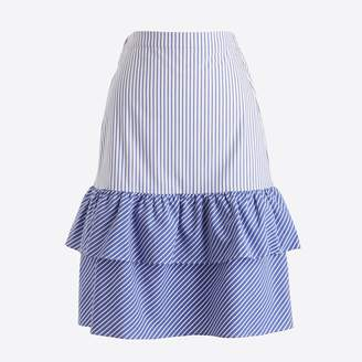 J.Crew Factory Cocktail stripe tiered ruffle midi skirt