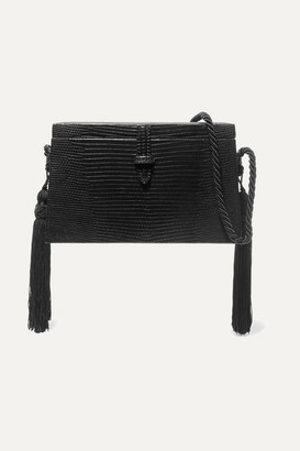 Hunting Season - Square Trunk Tasseled Lizard Shoulder Bag - Black