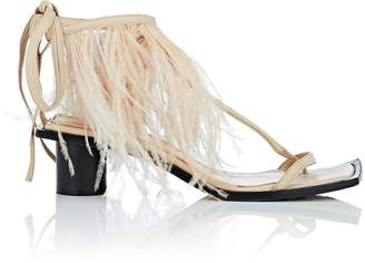 Helmut Lang Women's Feather-Embellished Ankle-Wrap Sandals