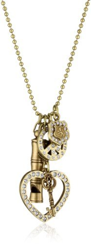Sisi Amber Multi Charms with Clear Crystals Brass Necklace, 18