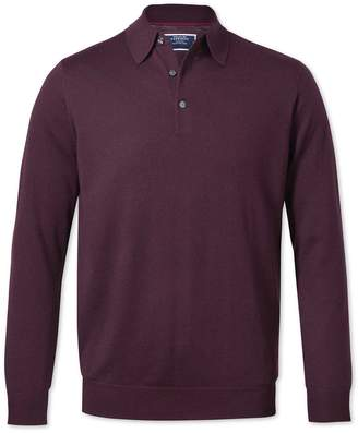 Charles Tyrwhitt Wine Wool Polo Collar Merino Sweater Size Large