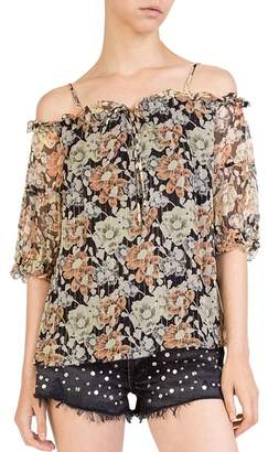 The Kooples Wanted Cold-Shoulder Floral Top