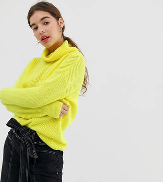 New Look roll neck jumper in yellow neon