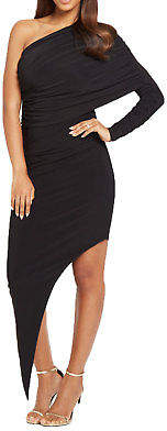 Double Sided Draped One Shoulder Dress in Black Size 10