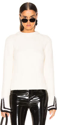 Helmut Lang Crochet Detail Crewneck in Butter | FWRD