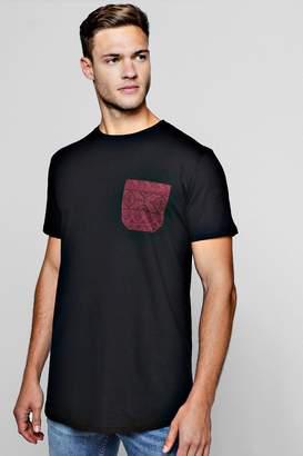 boohoo Longline Aztec Pocket T-Shirt With Curve Hem