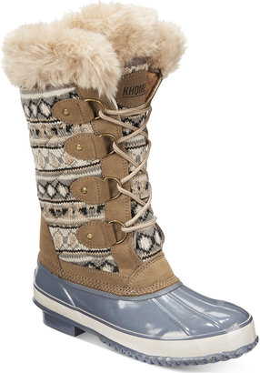 Khombu Women's Melanie Lace-Up Faux-Fur Boots Women's Shoes $119 thestylecure.com