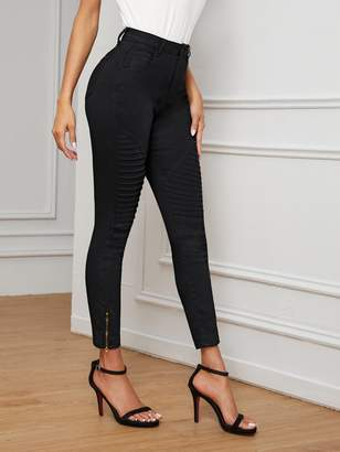 Shein Zipper Hem Ribbed Knee Jeans