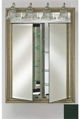Afina Corporation DD-LT2434RCOLGN 24 in.x 34 in.Recessed Double Door Cabinet with Traditional Lights - Colorgrain Green