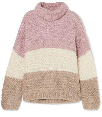 Apiece Apart Convertible Striped Ribbed Alpaca-blend Sweater - Pink