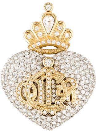 Christian Dior Christian Dior Crystal Crowned Heart Crest Brooch