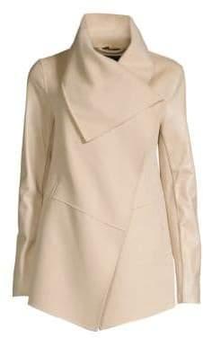 Mackage Women's Leather Sleeve Wool Coat - Sand - Size XXS