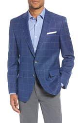 BOSS Hutsons Trim Fit Windowpane Wool Sport Coat