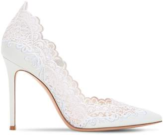 Gianvito Rossi 105mm Lace & Leather Pumps