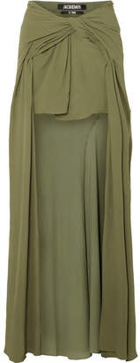 Jacquemus Sahil Asymmetric Draped Crepe Skirt - Army green