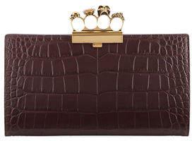 Alexander McQueen Knuckle Silky Crocodile-Embossed Flat Clutch Bag