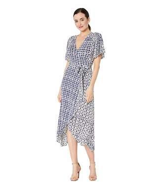 Lucky Brand Flutter Sleeve Printed Wrap Dress
