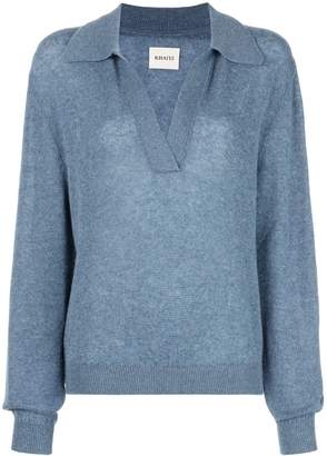 KHAITE Jo V Neck Collar Cashmere Sweater