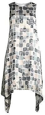 Peserico Women's Mosiac Print Handkercheif Dress