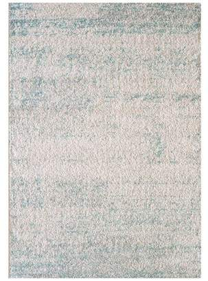 Isabella Collection Ice Blue Power Loomed Easy Care Modern Rug