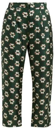 Biyan Pobea Floral Print Silk Cropped Trousers - Womens - Green Multi