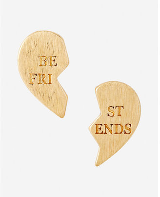 Express Best Friends Heart Stud Earrings $12.90 thestylecure.com