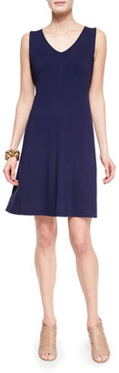 Eileen Fisher V-Neck Shaped Jersey Dress, Midnight $198 thestylecure.com