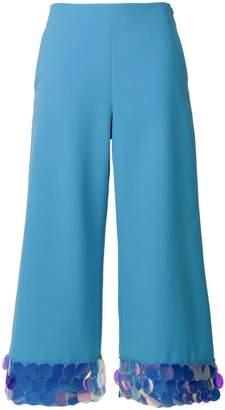 Sara Battaglia iridescent disc trim cropped trousers