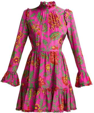 c3ee6f742c2 La DoubleJ Visconti Dragon Flower Print Silk Mini Dress - Womens - Pink  Print