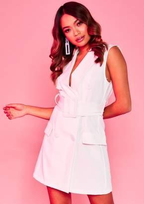 940df10255d9 Missy Empire Missyempire Tina White Sleeveless Belted Blazer Dress