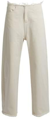Marques Almeida Marques'almeida - Frayed Edge Wide Leg Jeans - Womens - Ivory