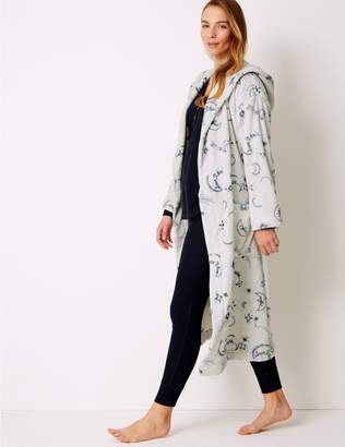 Marks and Spencer Fleece Printed Long Sleeve Dressing gown