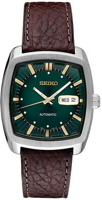 Seiko Men Automatic Recraft Brown Leather Strap Watch 40mm