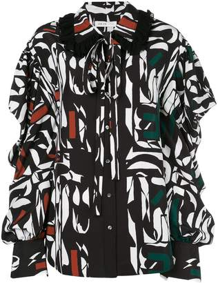 ADEAM oversized printed blouse