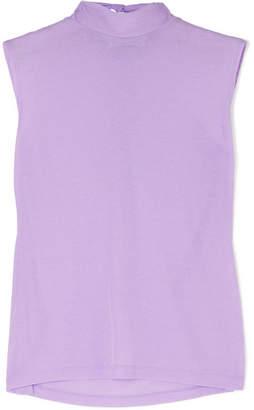 REJINA PYO - Rebecca Tie-neck Jersey Turtleneck Top - Lilac