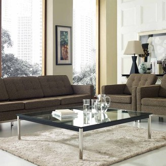 Modway LC10 Coffee Table with Stainless Steel Legs in Black