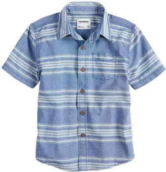 Sonoma Goods For Life Boys 4-7x SONOMA Goods for Life Chambray Button Down Striped Shirt
