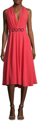 Halston Women's Gathered Asymmetrical Back Flared Dress