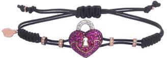 Pippo Perez 18k Diamond & Ruby Heart Lock Pull-Cord Bracelet