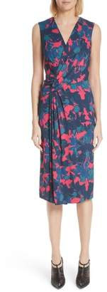 Jason Wu Fruit Print Wrap Front Crepe Dress