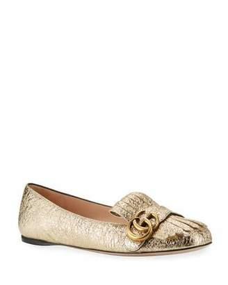 Gucci Marmont Fringe Leather Ballerina Flat, Gold